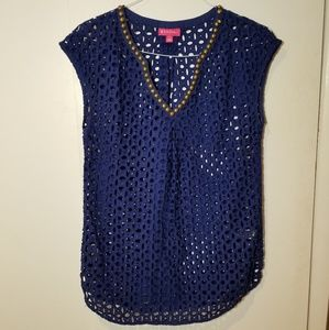 Lilly Pulitzer navy blue beaded crochet lace top